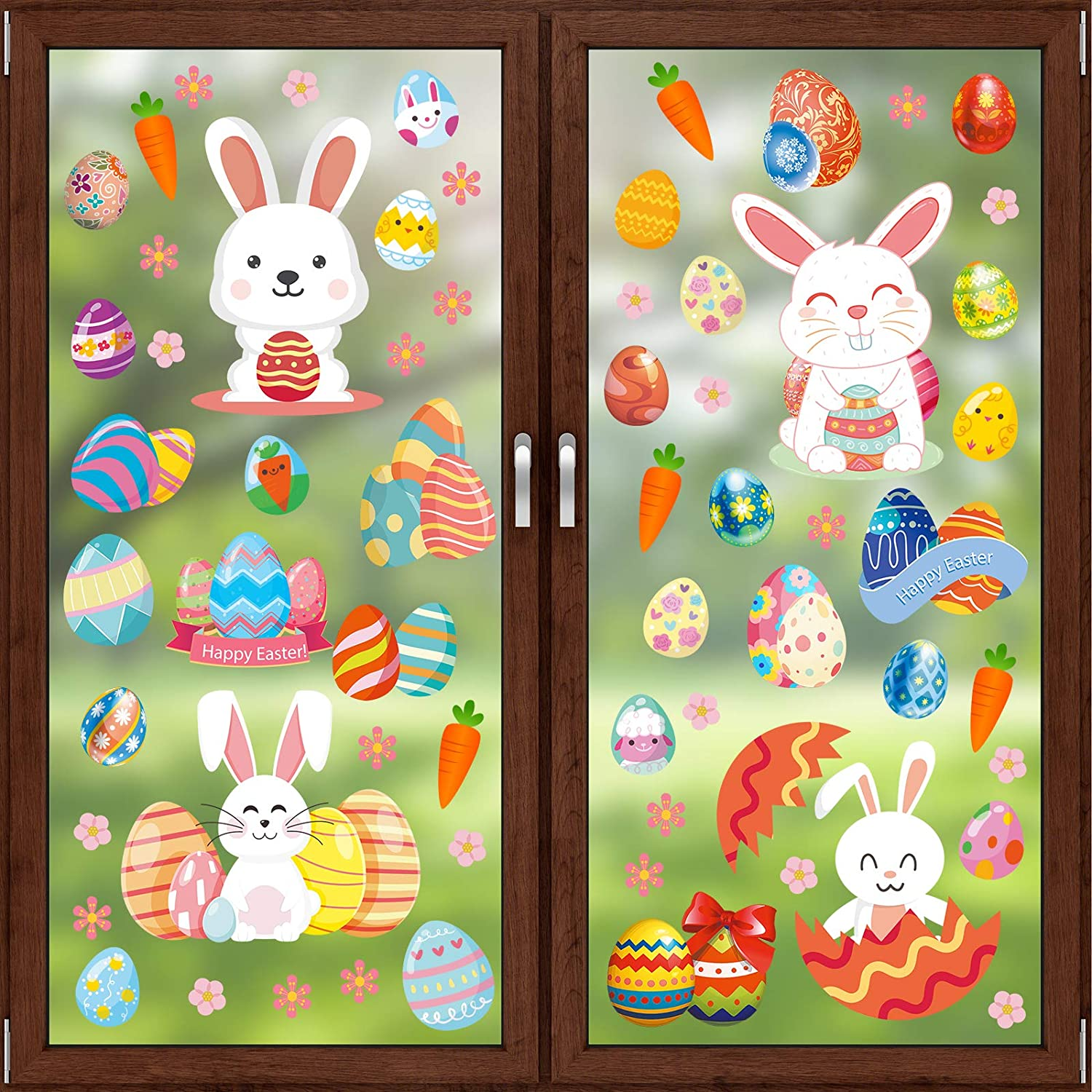 Rotumaty Easter Window Clings Decorations, 8 Sheets Bunny Easter Eggs Flowers Decal Stickers for Home School Office Party Supplies Ornaments