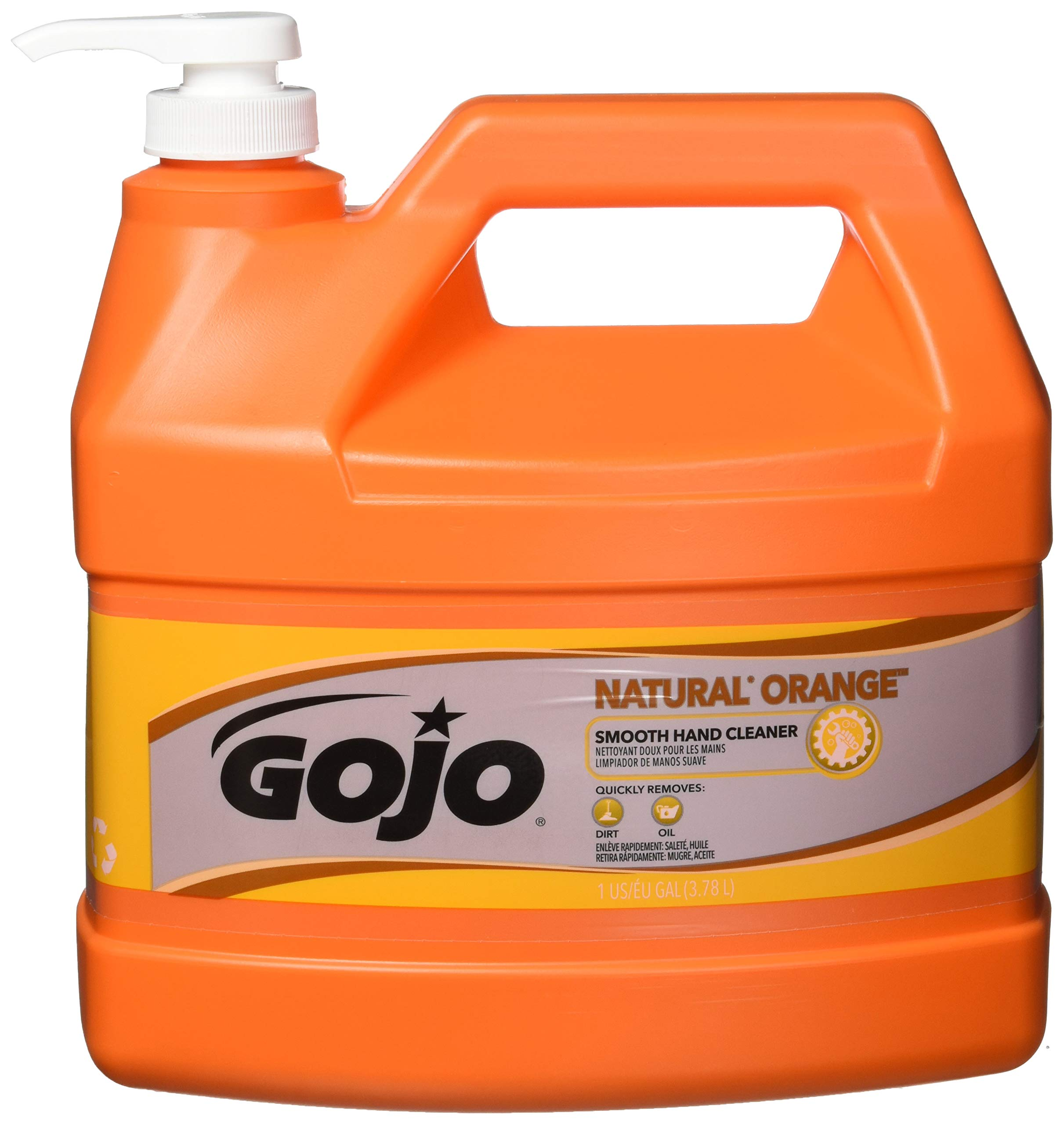 GOJO Natural Orange Smooth Hand Cleaner, Citrus Scent, 1 Gallon Quick Acting Hand Cleaner Pump Bottle (Case of 4) - 0945-04
