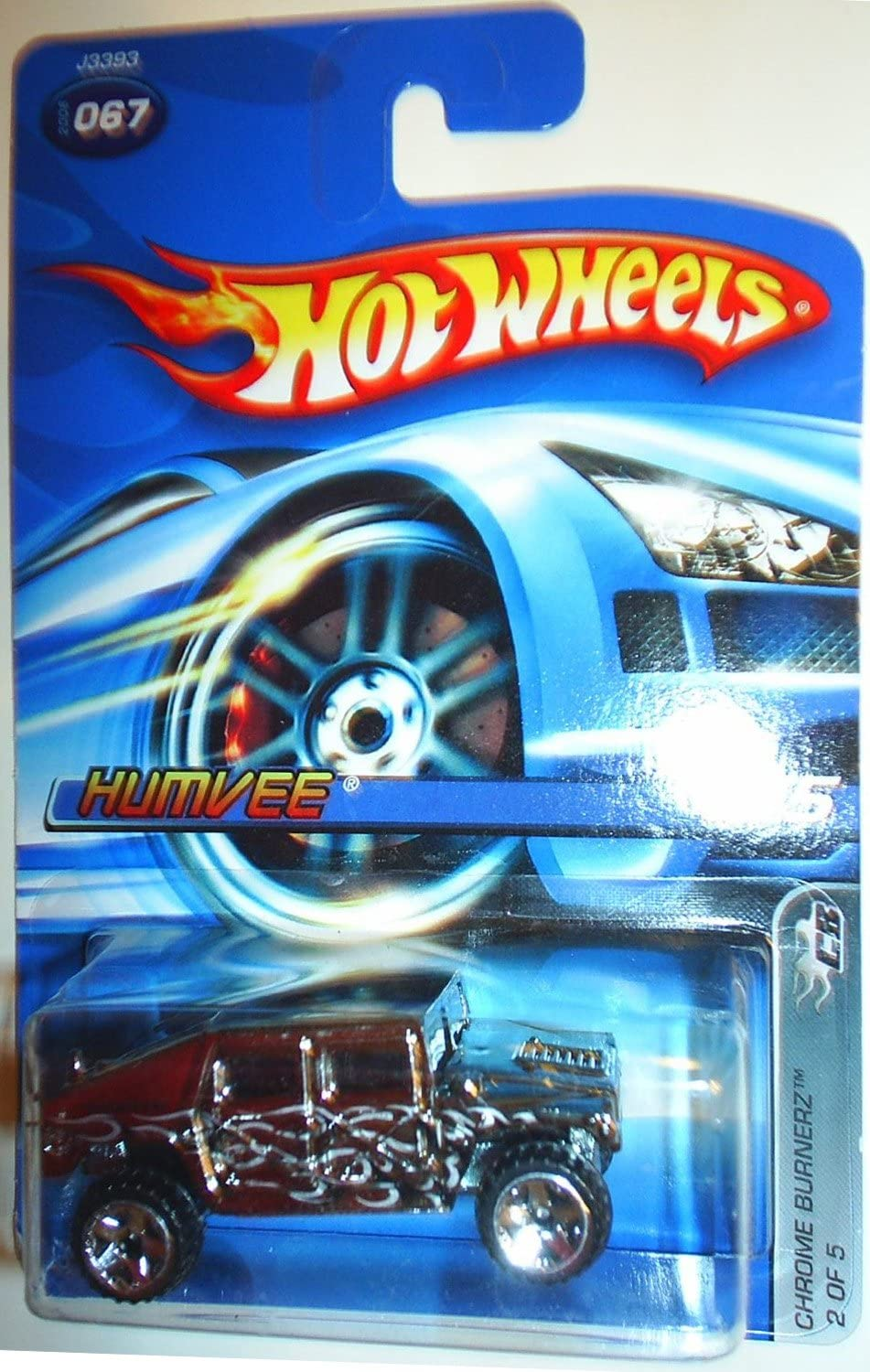 Hot Wheels Chrome Burnerz Series #2 Humvee with Black Flames #2006-67 Collectible Collector Car Mattel 1:64 Scale