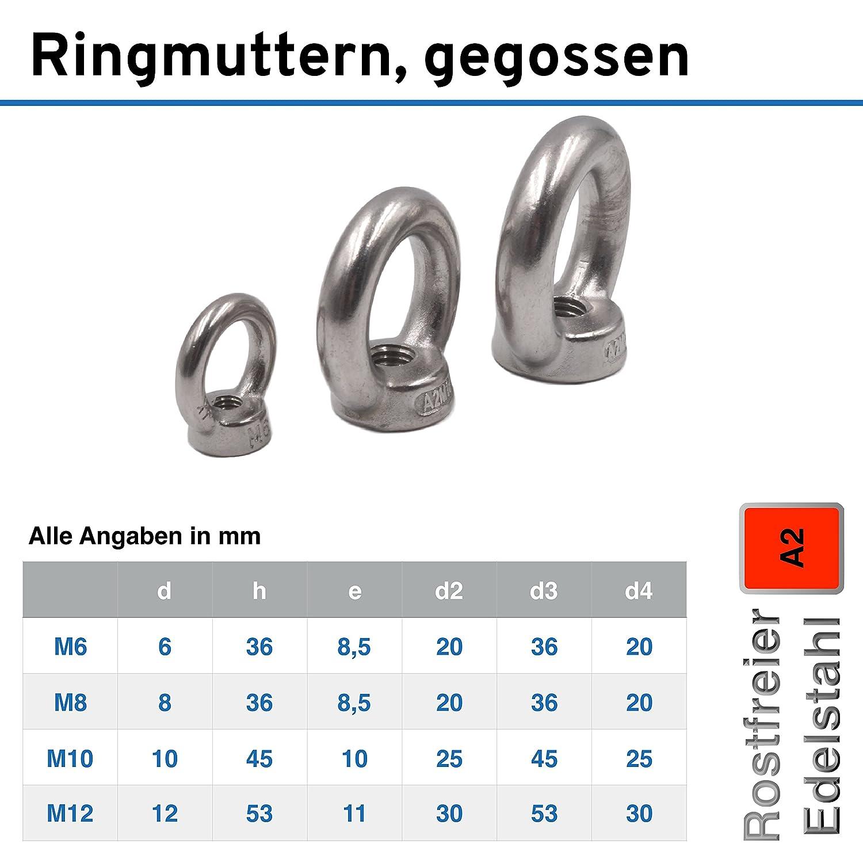 M10 /Ösenmutter rostfrei Eisenwaren2000 Edelstahl A2 V2A - Ringmutter /ähnl DIN 582 gegossen und poliert 50 St/ück