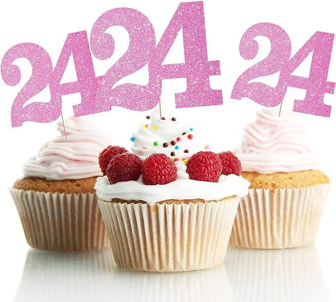 Happy 24th Birthday Cake Topper Gold and Black 24th Birthday Cake Decoration Twenty four-year-old Cake Topper 24th Birthday Party Decoration