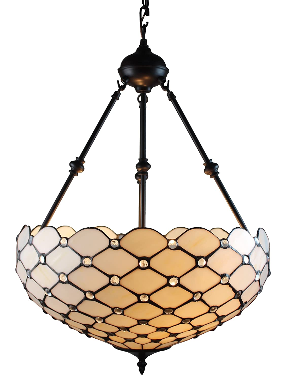 Amora Lighting Am1117hl18 Tiffany Style Ceiling Hanging Pendant Lamp White 18 Inch 2 Lights