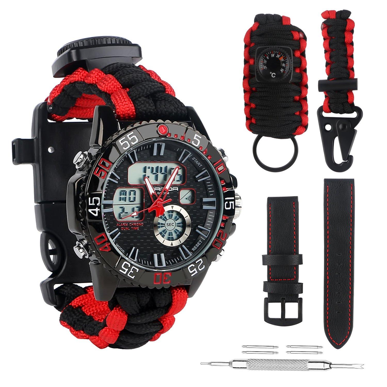 Hombres, mujeres, deporte, reloj de supervivencia de emergencia, reloj de alarma ajustable impermeable con visualización de doble hora con 3 bandas de reloj intercambiables