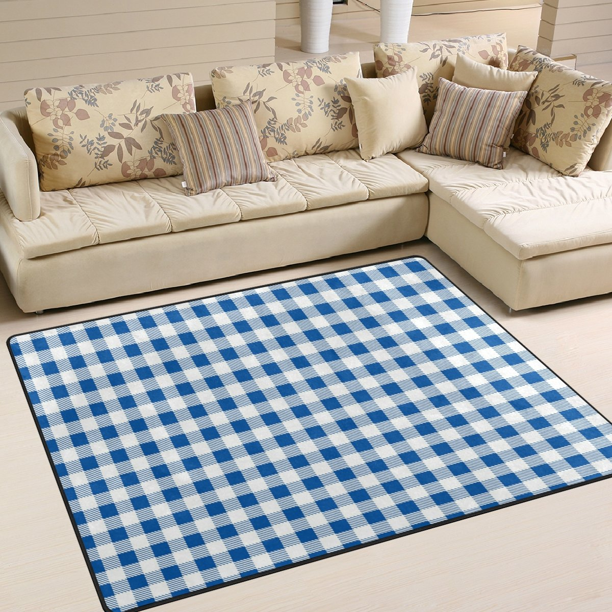 YZGO Firebrick Gingham Plaid White Blue Grid Kids Area Rug,Classic Checkered Non-Slip Floor Mat Soft Resting Area Doormats for Living Dining Bedroom 5' x 7'
