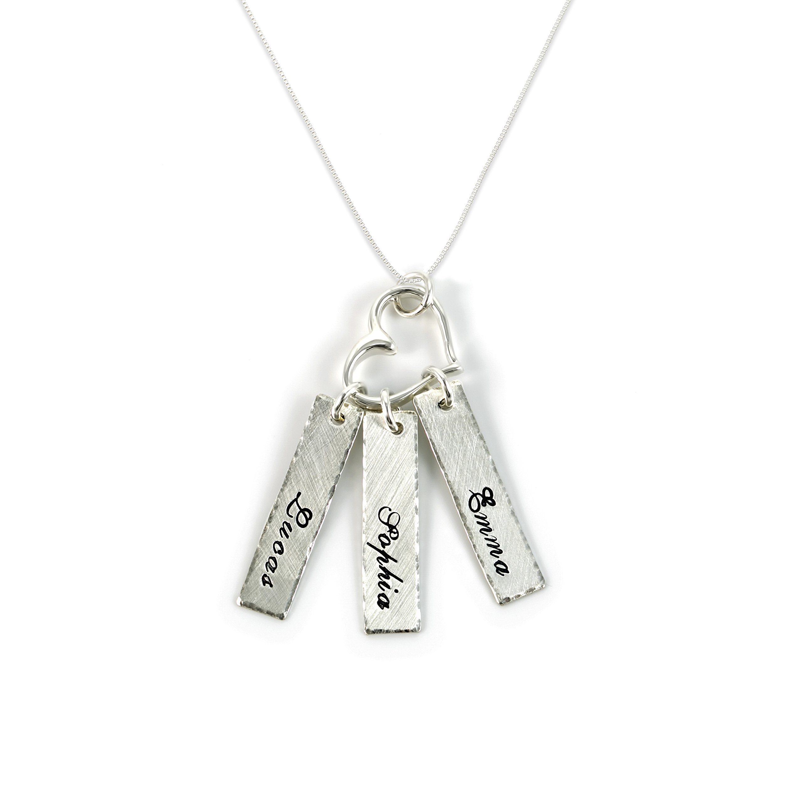 AJ's Collection Triple Bar Sterling Silver Personalized Necklace with Heart Charm. Includes 3 Customizable Charms and Your Choice of Sterling Silver Chain. Gifts for Her, Mom, Wife