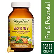 MegaFood - Baby & Me 2, Twice Daily Prenatal and Postnatal Supplement to Support Healthy Pregnancy, Development, and Bones for Mother & Child, Herb-Free, Vegetarian, Gluten-Free, Non-GMO 120 Tablets