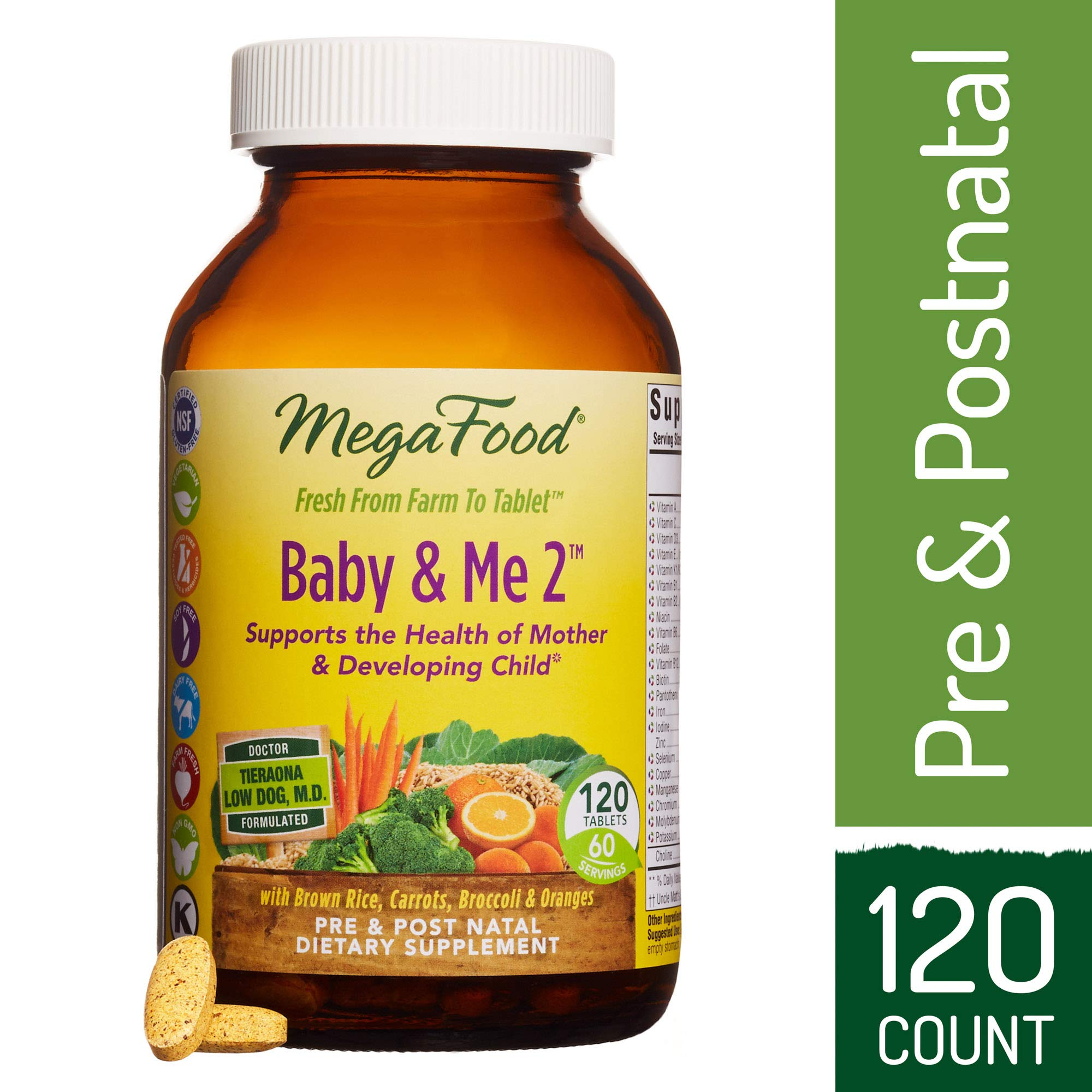 MegaFood - Baby & Me 2, Twice Daily Prenatal and Postnatal Supplement to Support Healthy Pregnancy, Development, and Bones for Mother and Child, Herb-Free, Vegetarian, Gluten-Free, Non-GMO 120 Tablets