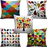 """Modern Fab Set of 5 Multi Colored Decorative Hand Made Cotton Cushion Covers 16"""" x 16"""" (40cm x 40cm)"""