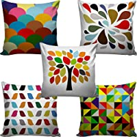 """Decorative Hand Made Digitally Printed Abstract 5 Piece Cotton Cushion Cover - 16"""" x 16"""", Multicolour"""