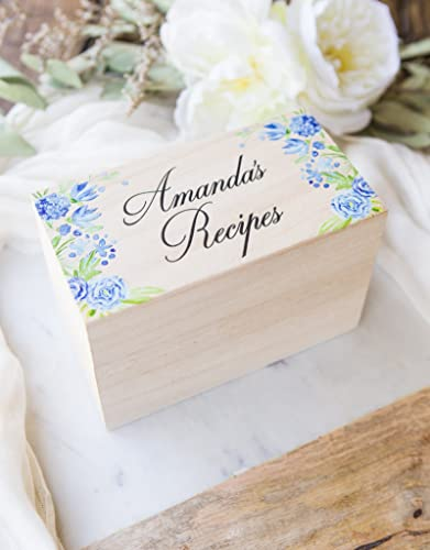 bridal shower gift recipe box personalized name bride gift wood box for wedding gift name