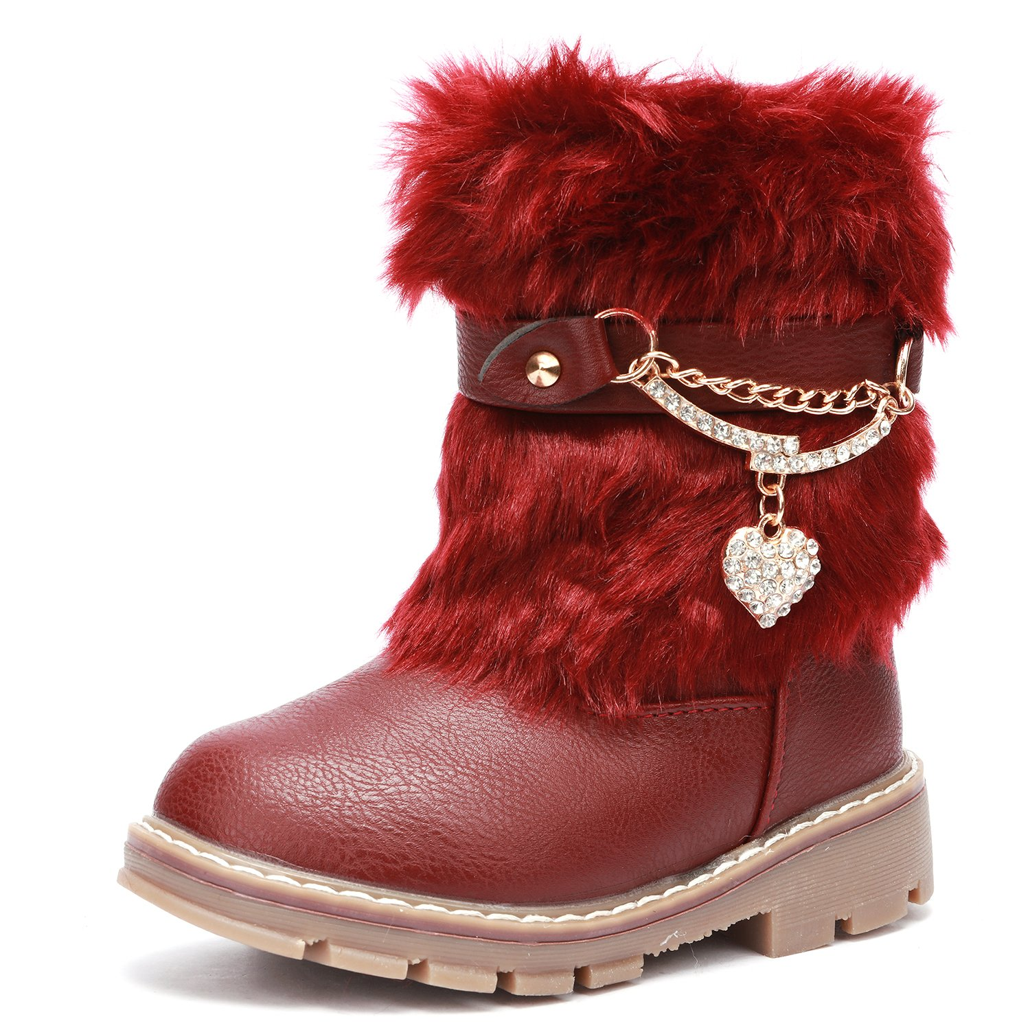UBELLA Toddler Girls Rhinestone Heart Side Zipper Warm Winter Fur Snow Boots