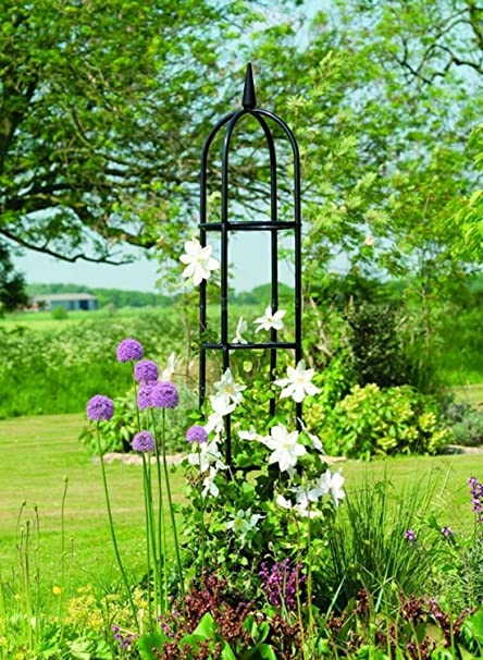 Charmant Garden Trellis Obelisk For Climbing Plants Patio U0026 Outdoor Black Steel Tall  Tower W/ 78
