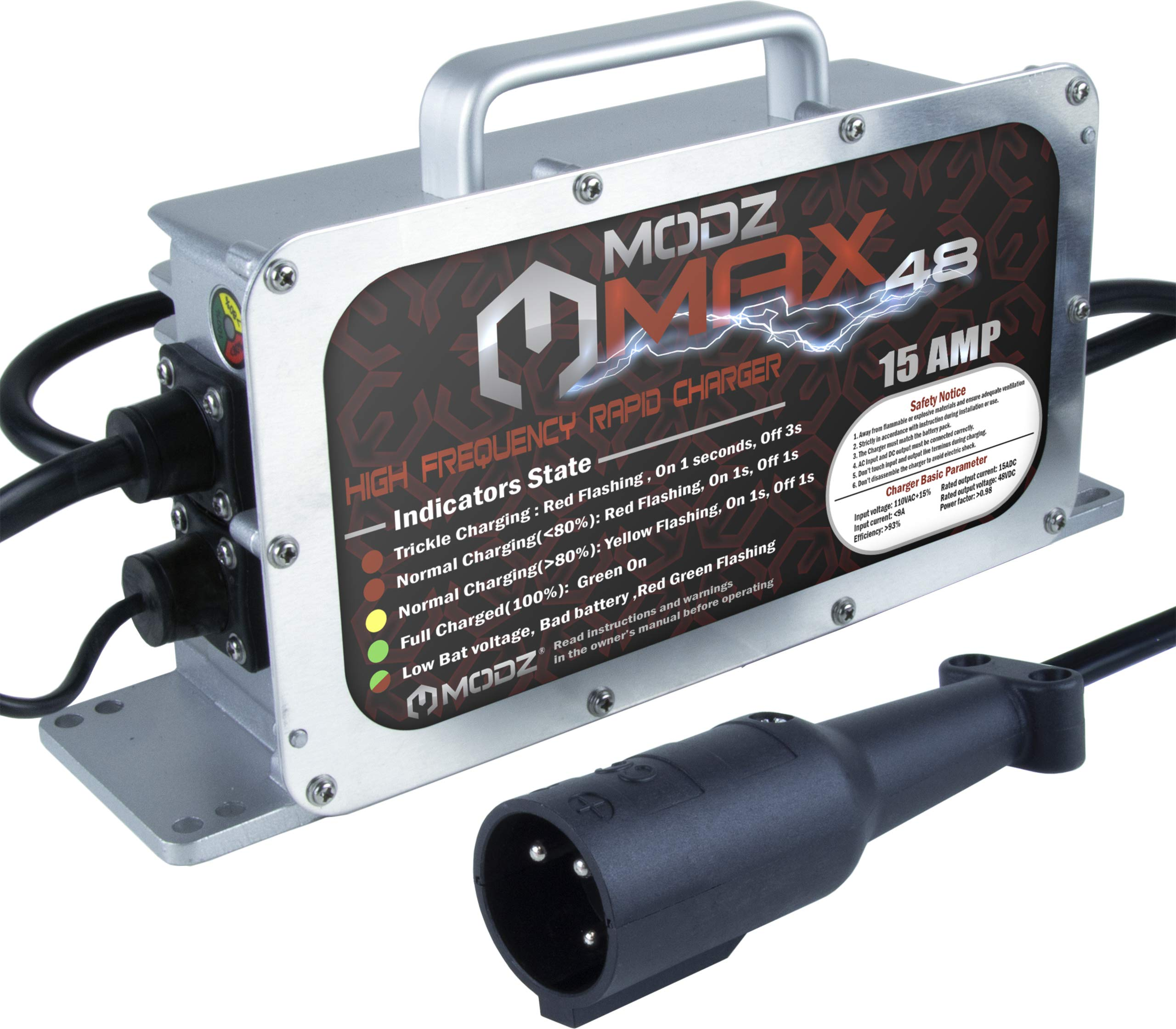 MODZ Max48 15 AMP Club Car Battery Charger for 48 Volt Golf Carts without Onboard Computer (OBC)