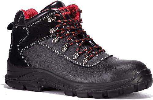 Black Hammer Chaussures De Sécurité Hommes Bottes Imperméables en Cuir pour Homme S3 SRC avec Embout en Acier Travail Confortable 7777