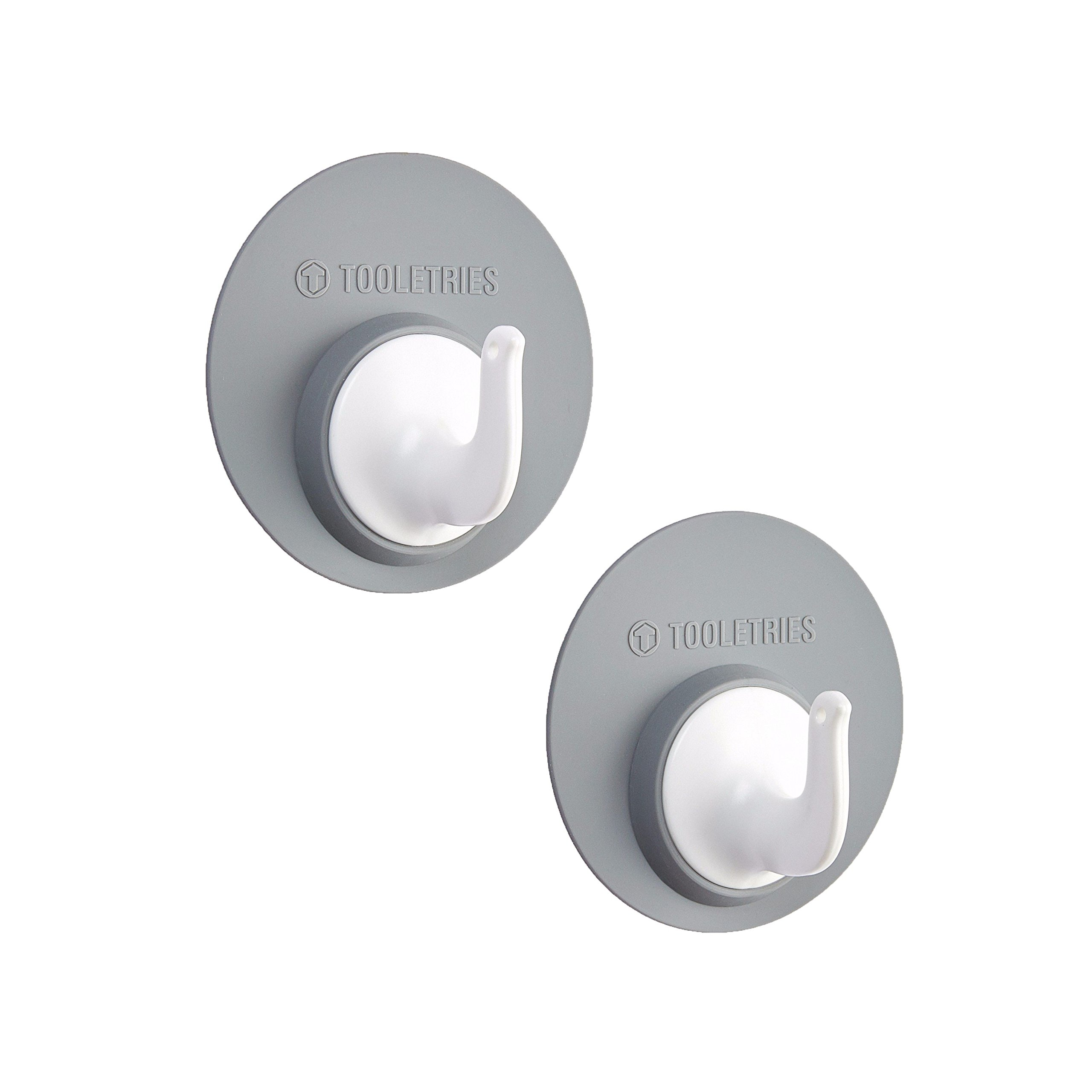 Tooletries Reusable Bathroom Hooks - Holds up to 10lbs! No suction cups. No Adhesives. Leaves no Residue - REUSABLE (Grey)