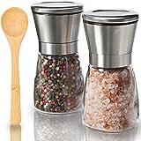 Salt And Pepper Grinder Set by KitchenBliss Salt Pepper Mills of Premium Quality Stainless Steel & Glass Body Salt and Pepper Shakers Ceramic Mechanism & Adjustable Coarseness Salt Grinders And Mills