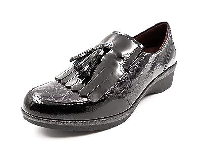 Zapato cómodo Mujer Tipo mocasín Marca Pitillos, en Charol Color Negro, cuña 3cm - 5212-585: Amazon.es: Zapatos y complementos