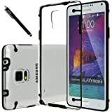 Note 4 Case, E LV Galaxy Note 4 Case Cover - Clear Hybrid Protective Case Cover for Samsung Galaxy Note 4 with 1 Stylus and 1 Microfiber Cleaning Cloth - BLACK