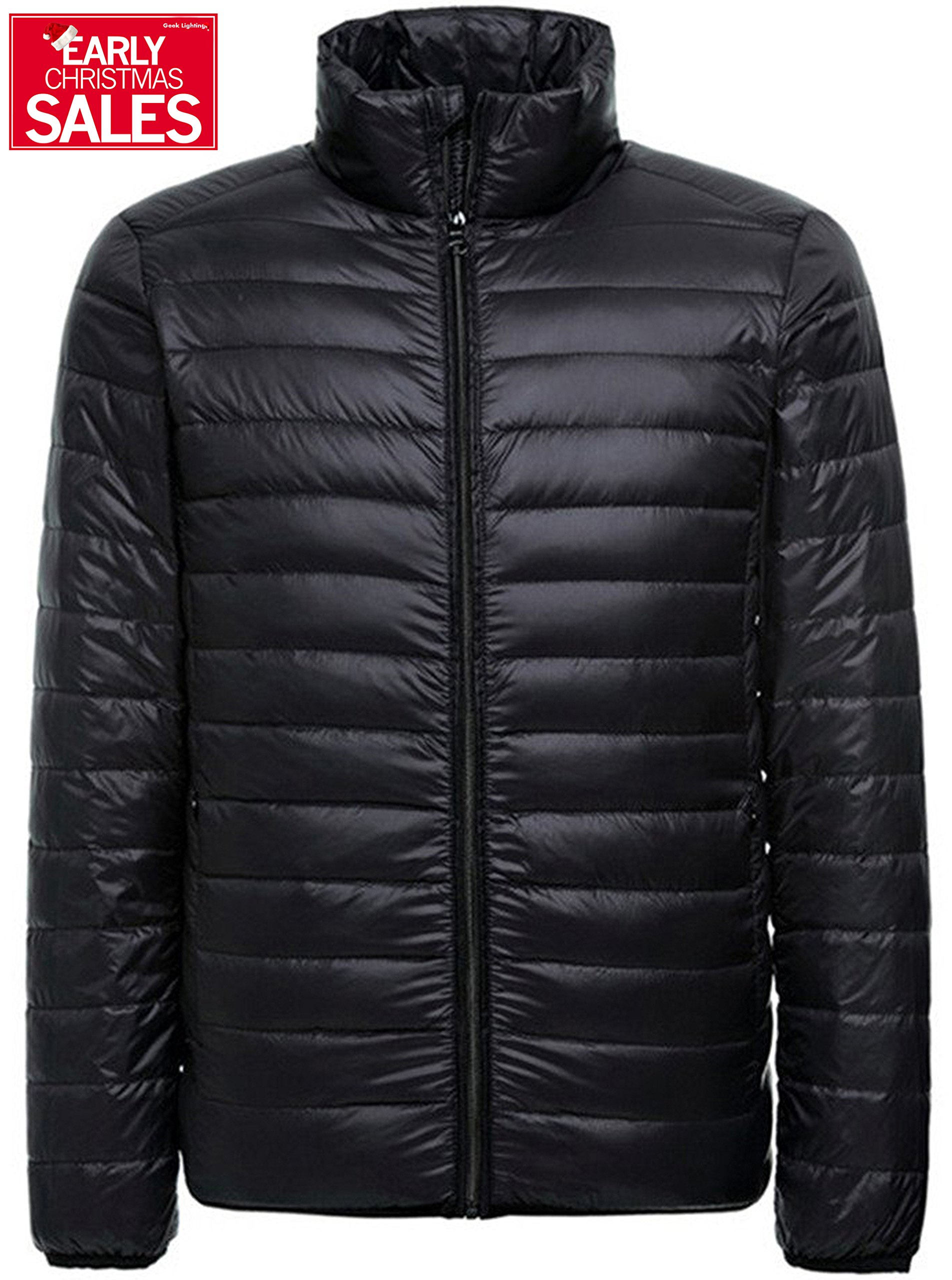 Men's Lightweight Hooded Packable Short Down Feather Jacket Outwear Puffer Down Coats Black Without Hooded X-Small/Tag Large
