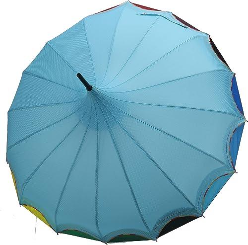 QUEENSHOW Creative Rainbow Pagoda Umbrella, Retro Small Fresh Wave point Sun Umbrella Stick Umbrella UV Protection Umbrella Retro with Hook Handle for Sun Rain Protection, Light blue