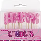 """Bougies Roses """"Happy Birthday"""""""