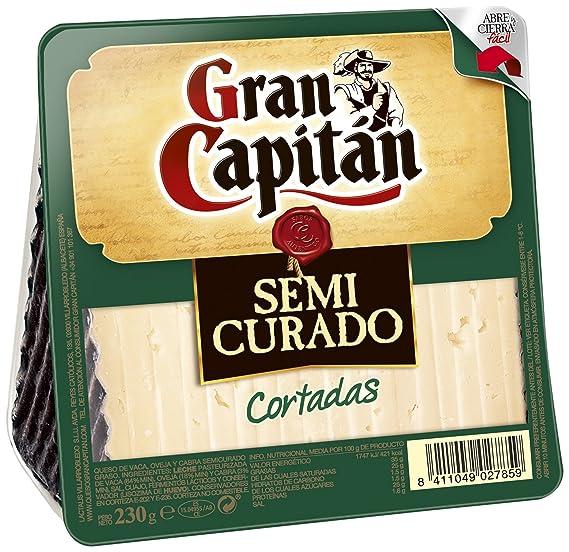 Gran Capitán Semicurado - Queso cortada de vaca, oveja y cabra, 230 g