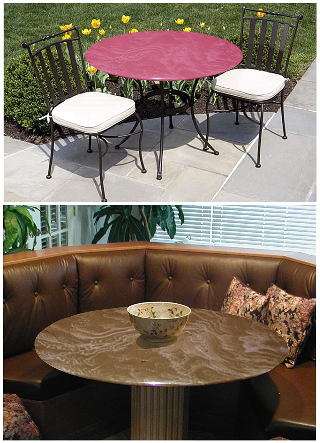 Dining Tables Indoor//Outdoor Fitted Table Cover for Glass Tables up to 48 Dia Color Mocha for All Round Tables Patio Tables