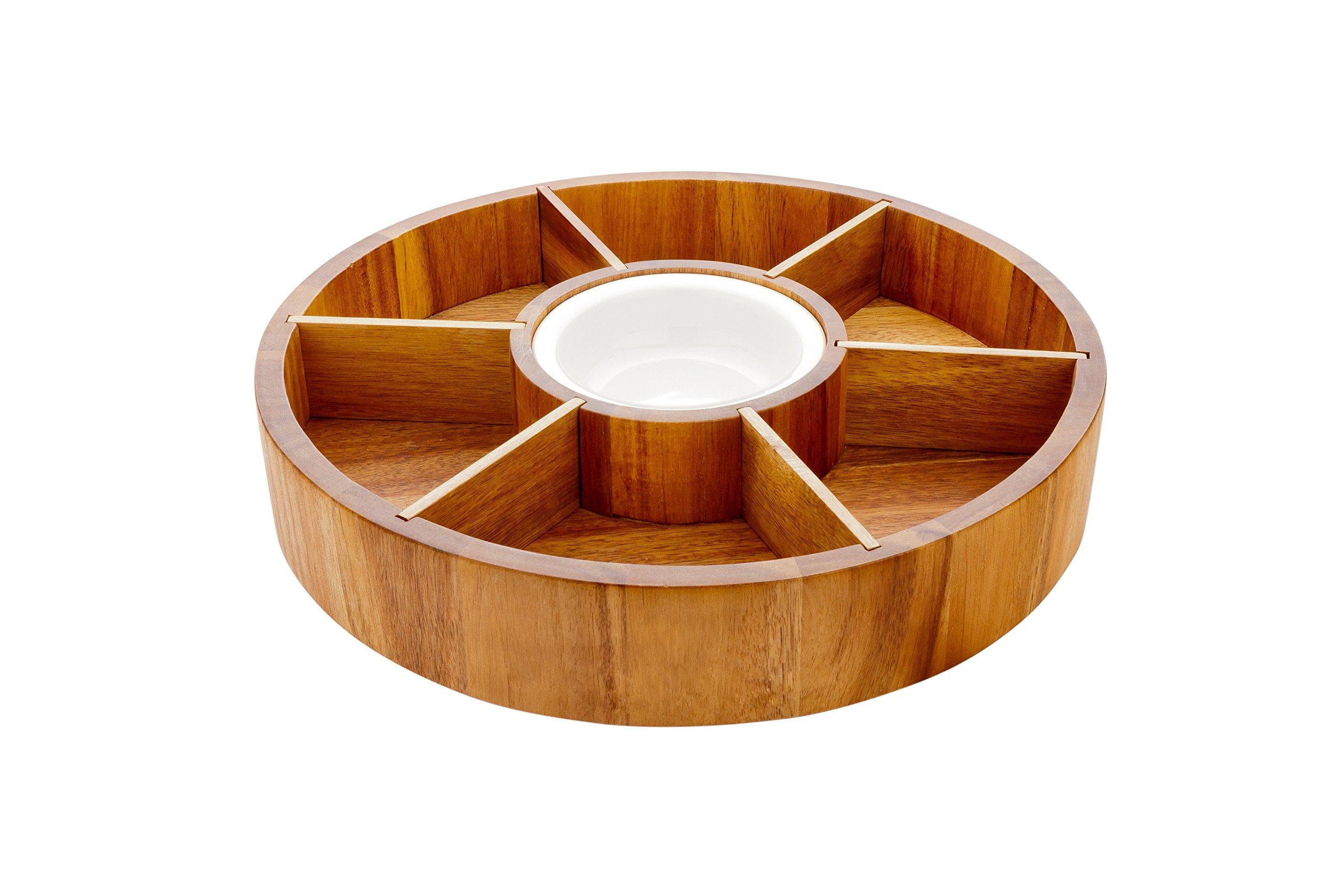 Chips and Dip Bowl, Salsa Serving Platter, Wooden Chip Dip Bowl - 12'' - Acacia Wood & Porcelain Dip Bowl - Snacks, Chips, Hummus - 1ct Box - Restaurantware