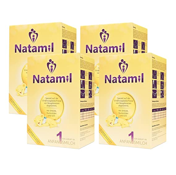 Natamil 1, fórmula infantil, desde el nacimiento, paquete de 4 (4 x