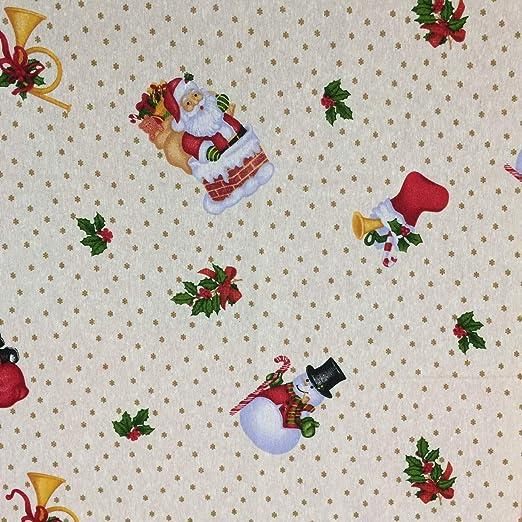 Pieza de tela estampada lona loneta algodón 55 x 138 cm navidad ...