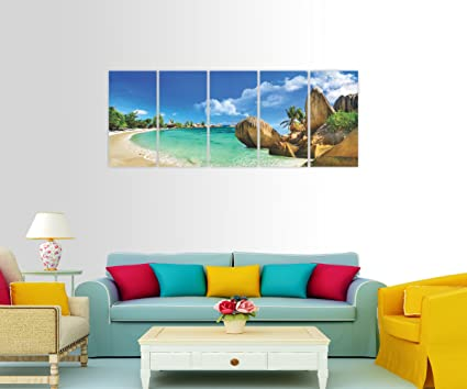 Split Painting | 5 Frames - 5 Paintings |BEACH VIEW Themed | Size ...