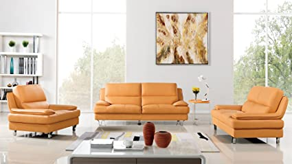 American Eagle Furniture 3 Piece Harrison Collection Complete Genuine  Leather Living Room Sofa Set, Yellow
