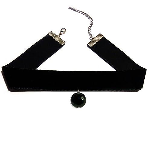 7cec4ead6 Collier ras de cou choker large velours noir pierre onyx gothique ...