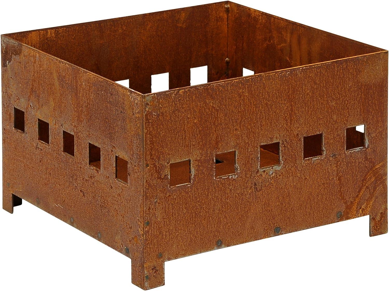 dekorativer Feuer-Korb Feuer-Schale Pflanz-Beet Metall rostig