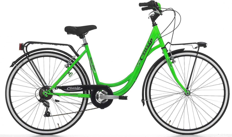 Bicicleta Cicli Cinzia Neon para mujeres, cuadro de acero, 6 ...