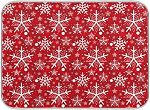 Winter White Snowflakes Dish Drying Mat Kitchen Home Decor Christmas Red Absorbent Dishes Dry Pad 18x24 Inch Easy Clean Drainer Mats for Baby Bottle Countertops