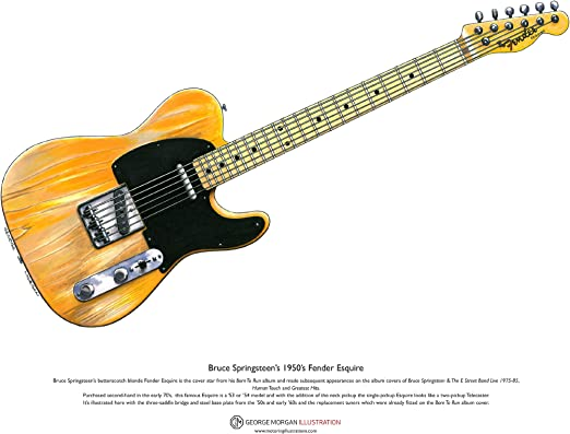 George Morgan Illustration Art Cartel de 1950s Fender Esquire ...