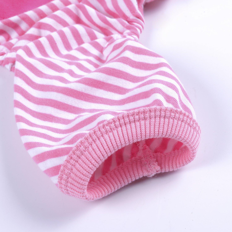 Woo Woo Pets Cute Animal Dog Cozy Pajams Dog Stripes Jumpsuit Pet Dog Clothes Pink XS by Woo Woo Pets (Image #5)