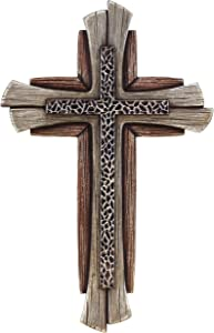 Modern Rustic Decorative Wall Cross - Layered Weathered Wood / Hammered Wrought Iron Look Spiritual Art Sculpture