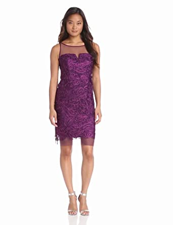 Hailey by Adrianna Papell Women's Illusion Detailed Dress, Eggplant, 4