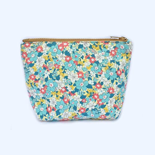 cf1daf329be4 Amazon.com: Blue Coin Purse Small Cosmetic Bag Tiny Flowers Prints ...