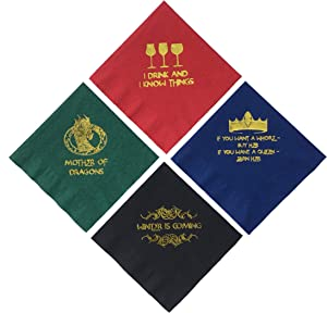 Game of Thrones Inspired Napkins Cocktail Beverage Drink Party Paper 20 Ct. 5 Inch Red Blue Green Black