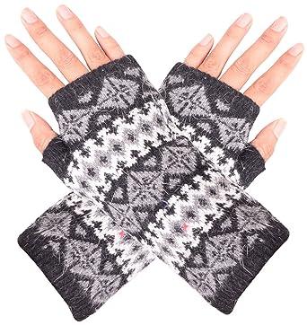 Paar Gestreifte Arm Wärmer Stricken Finger Handschuhe Einfach Zu Verwenden Damen-accessoires
