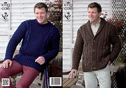 fedd44d695 Image Unavailable. Image not available for. Colour  King Cole Mens Super  Chunky Knitting Pattern Cable Knit Jacket   Cardigan ...