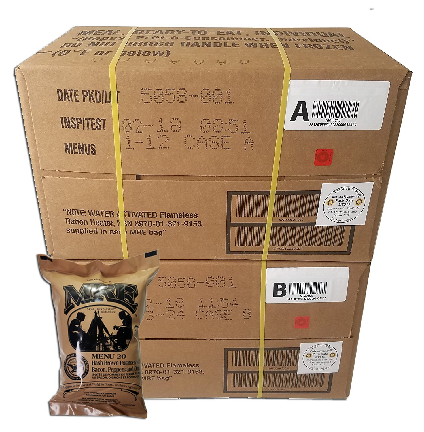 ULTIMATE MRE Case A and Case B Bundle, 24 Meals with 2018 Inspection Date. Military Surplus Meal Ready to Eat with Western Frontier's Inspection and Guarantee. by Western Frontier