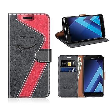 MOBESV Smiley Samsung Galaxy A5 2017 Hülle Leder, Samsung A5 2017 Tasche LederhülleWallet CaseLedertasche HandyhülleSchutzhülle für Samsung Galaxy