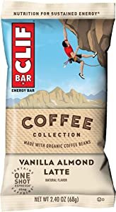 CLIF BARS with 1 Shot of Espresso - Energy Bars - Vanilla Almond Latte - Coffee Collection - 65 mgs of Caffeine Per Bar - Made with Organic Oats - Plant Based Food (2.4 Oz Breakfast Bars, 12 Count)