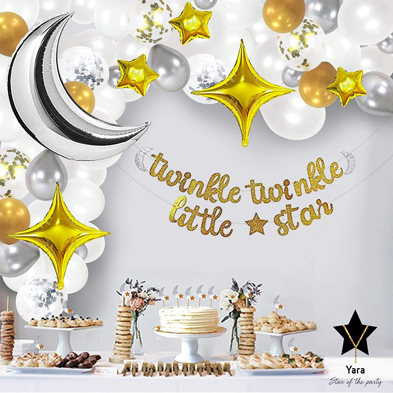 Yara Twinkle Twinkle Little Star Decorations For Baby Shower Or Birthday Boy or Girl|Gender Reveal Party Decoration|Neutral Balloon Garland Arch and Banner Kit|Moon and Stars Light Theme Decor Backdrop Set|Cupcake Toppers|White Silver Gold Balloons Supplies