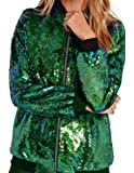 ASMAX HaoDuoYi Womens Sparkle Mermaid Sequin Long Sleeve Zipper Front Bomber Jacket (XX-Large, Green)