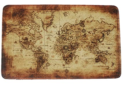 Amazon Com Goodbath Vintage World Map Bath Mats Non Slip Bath Rugs